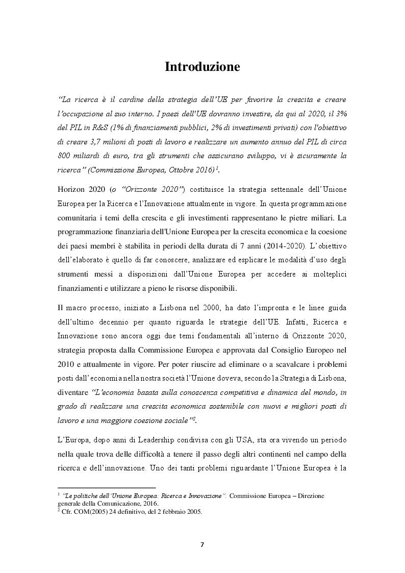 Anteprima della tesi: HORIZON 2020 – Il programma quadro per la ricerca e l'innovazione. La progettazione europea., Pagina 2