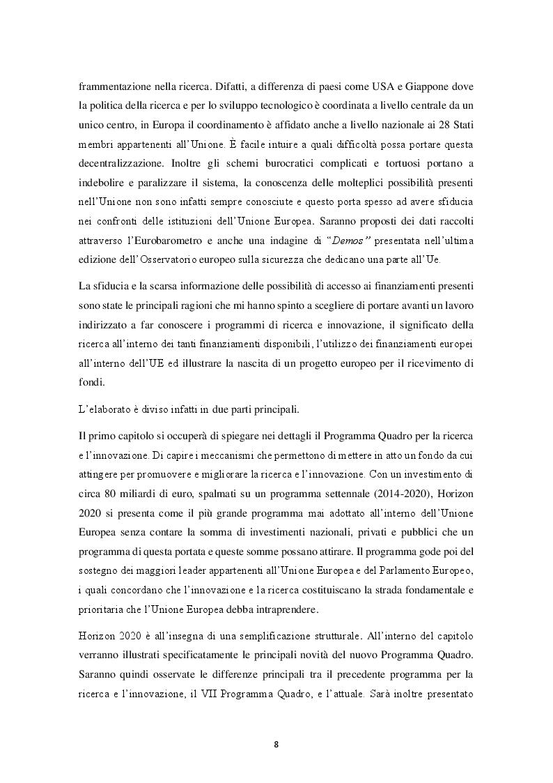 Anteprima della tesi: HORIZON 2020 – Il programma quadro per la ricerca e l'innovazione. La progettazione europea., Pagina 3