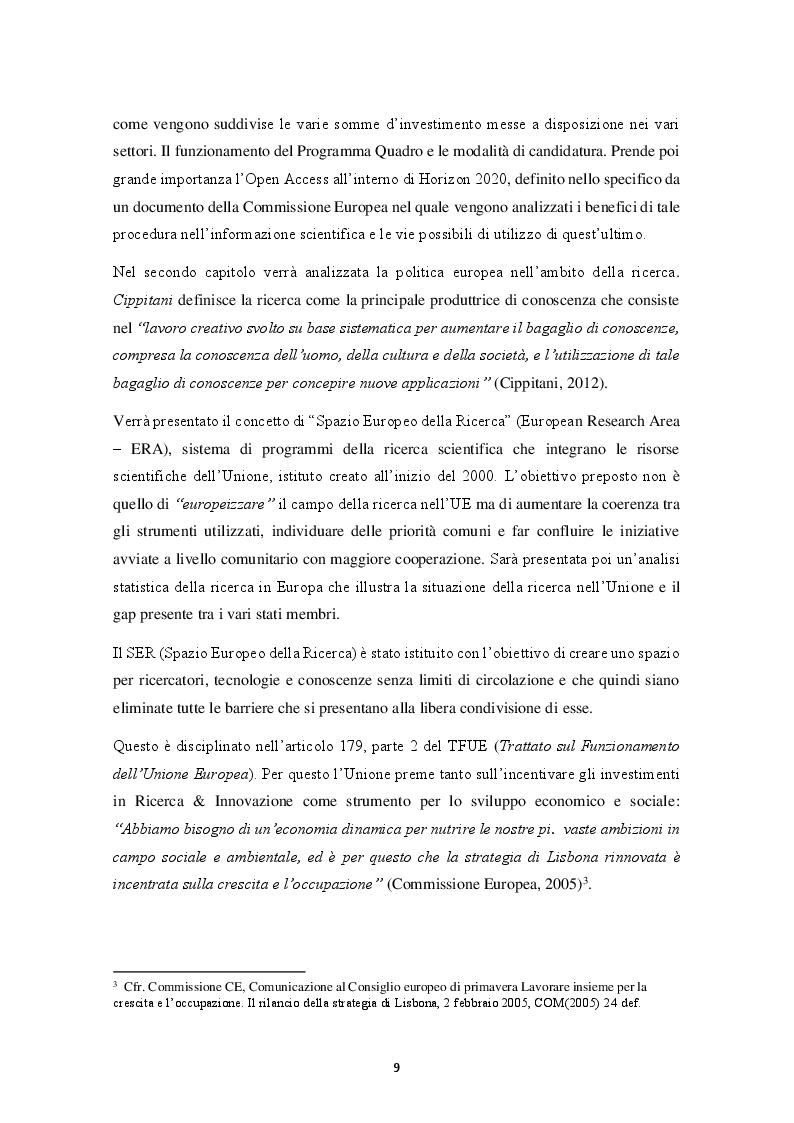 Anteprima della tesi: HORIZON 2020 – Il programma quadro per la ricerca e l'innovazione. La progettazione europea., Pagina 4