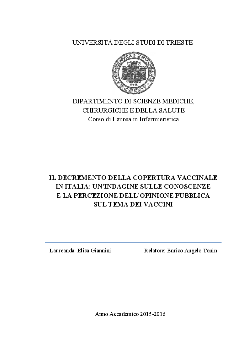 Anteprima della tesi: Il decremento della copertura vaccinale in Italia: un'indagine sulle conoscenze e la percezione dell'opinione pubblica sul tema dei vaccini, Pagina 1