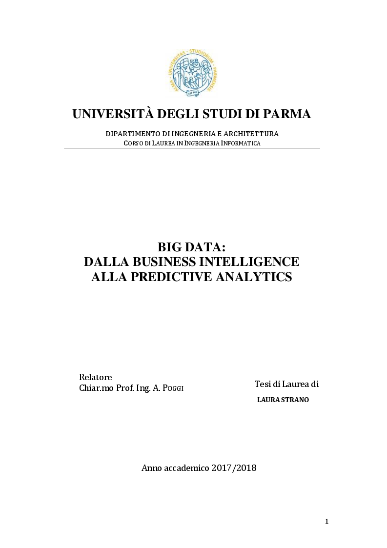 Anteprima della tesi: Big Data: dalla Business Intelligence alla Predictive Analytics, Pagina 1