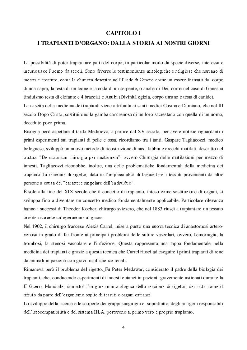 Anteprima della tesi: La donazione: ruolo dell'infermiere del coordinamento dal prelievo al trapianto d'organo, Pagina 2
