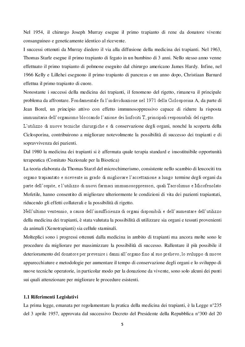 Anteprima della tesi: La donazione: ruolo dell'infermiere del coordinamento dal prelievo al trapianto d'organo, Pagina 3