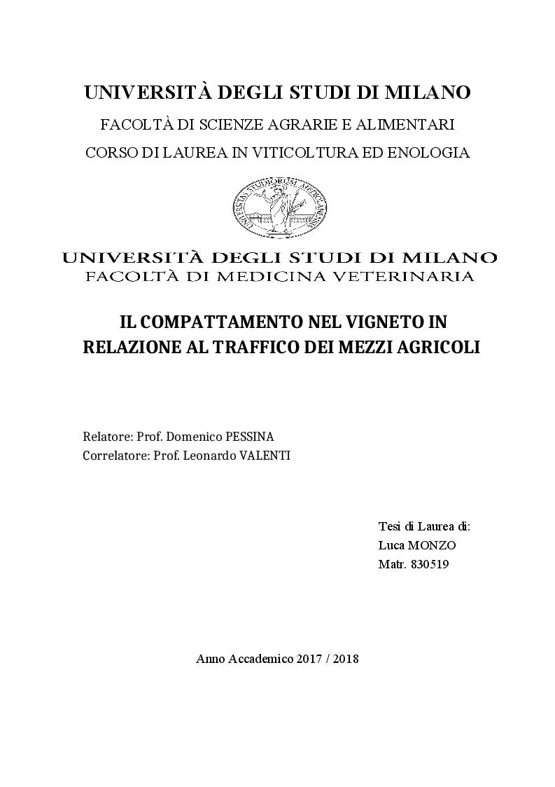 Anteprima della tesi: Il compattamento nel vigneto in relazione al transito dei mezzi agricoli, Pagina 1