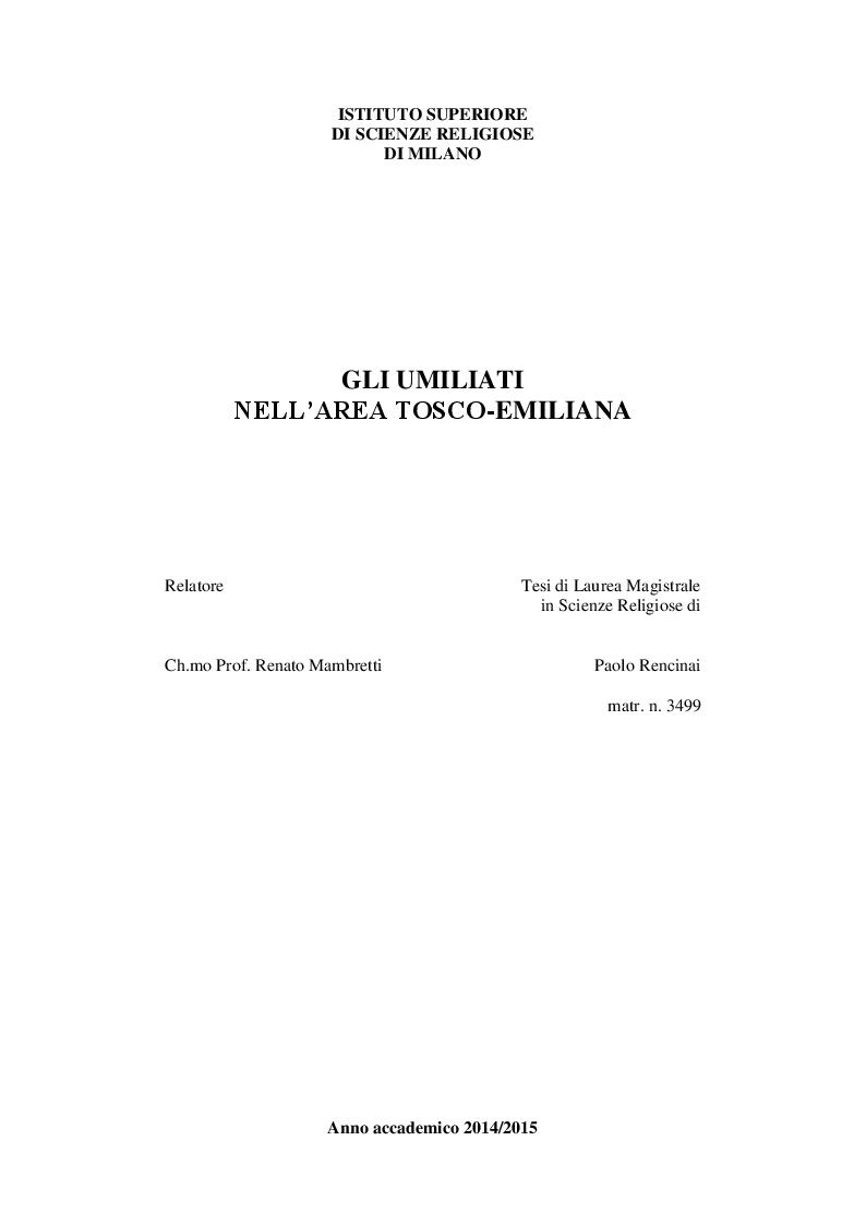 Anteprima della tesi: Gli Umiliati nell'area tosco-emiliana, Pagina 1