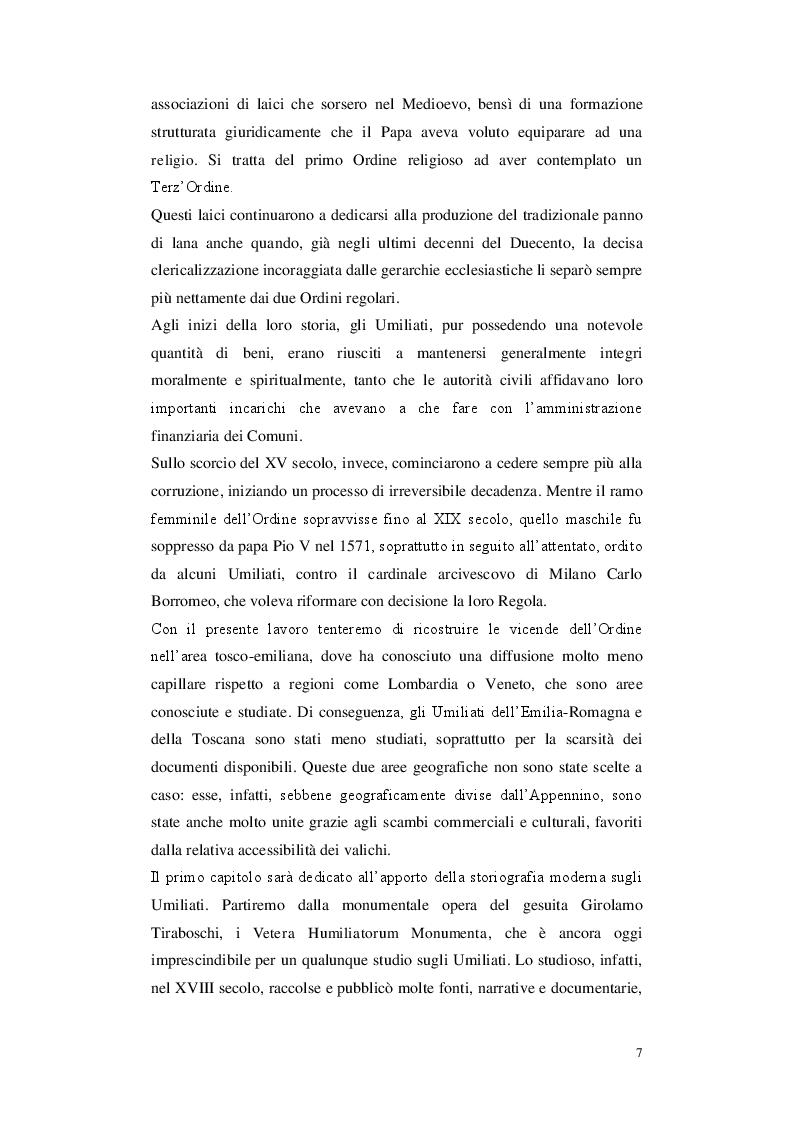 Anteprima della tesi: Gli Umiliati nell'area tosco-emiliana, Pagina 3