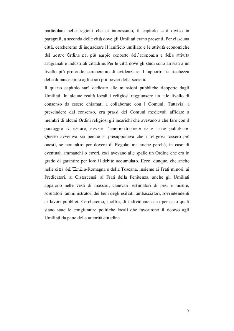 Anteprima della tesi: Gli Umiliati nell'area tosco-emiliana, Pagina 5
