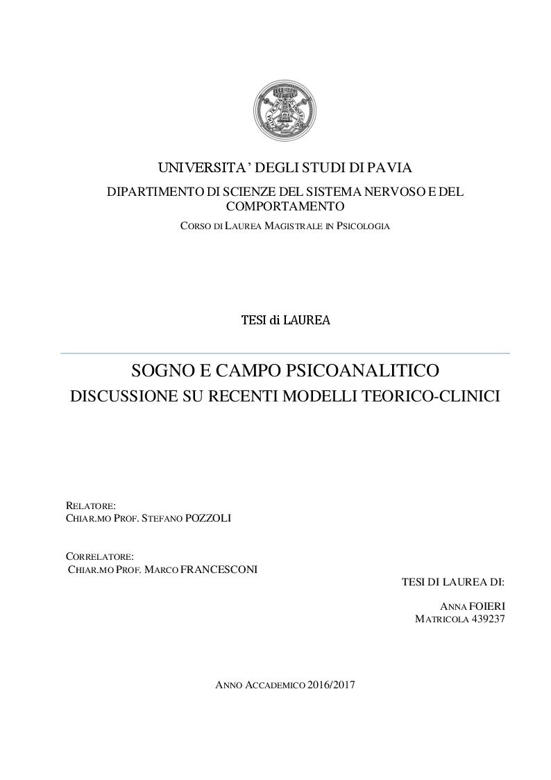 Anteprima della tesi: Sogno e campo psicoanalitico. Discussione su recenti modelli teorico-clinici, Pagina 1