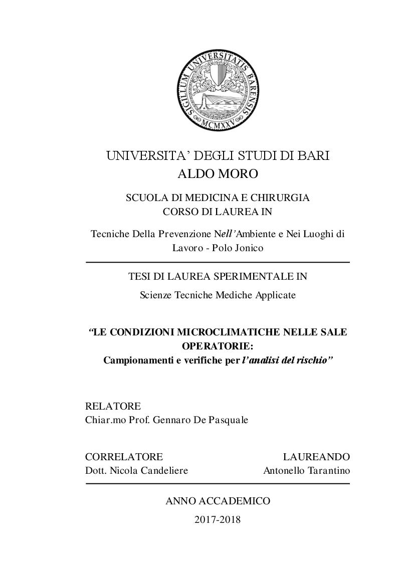 Anteprima della tesi: Le condizioni microclimatiche nelle sale operatorie: campionamenti e verifiche per l'analisi del rischio, Pagina 1