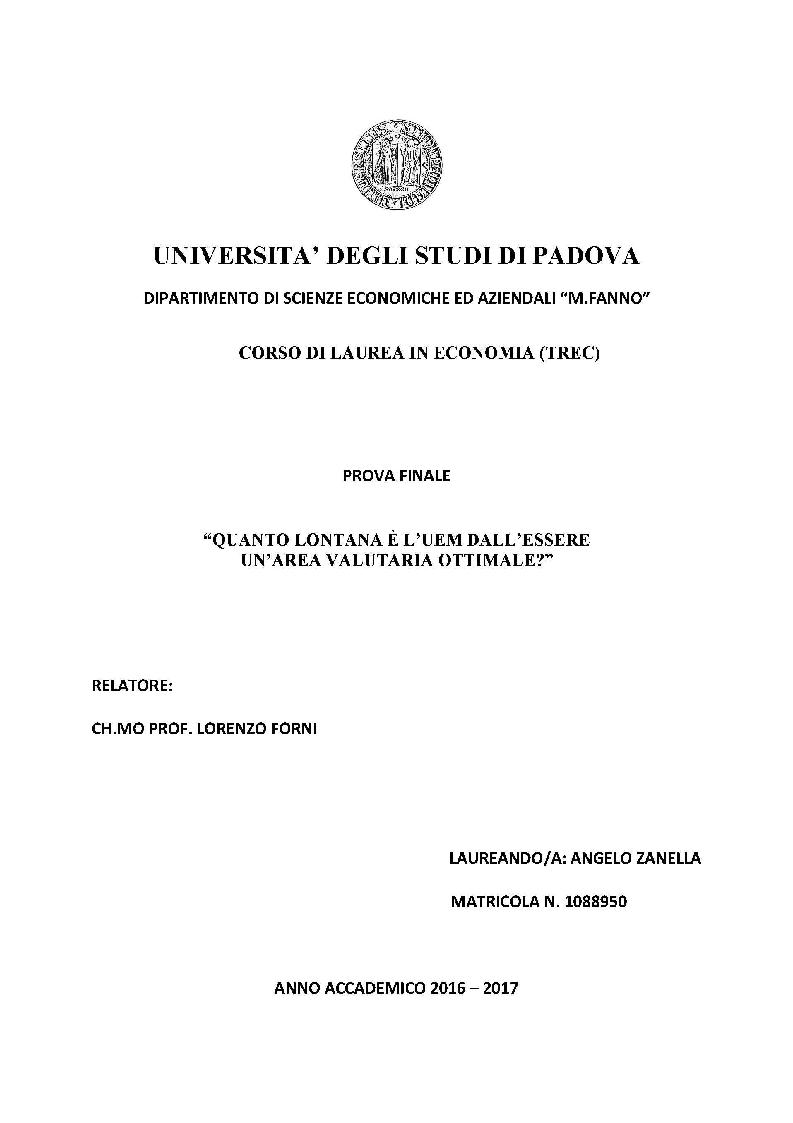Anteprima della tesi: Quanto lontana è l'UEM dall'essere un'area valutaria ottimale?, Pagina 1