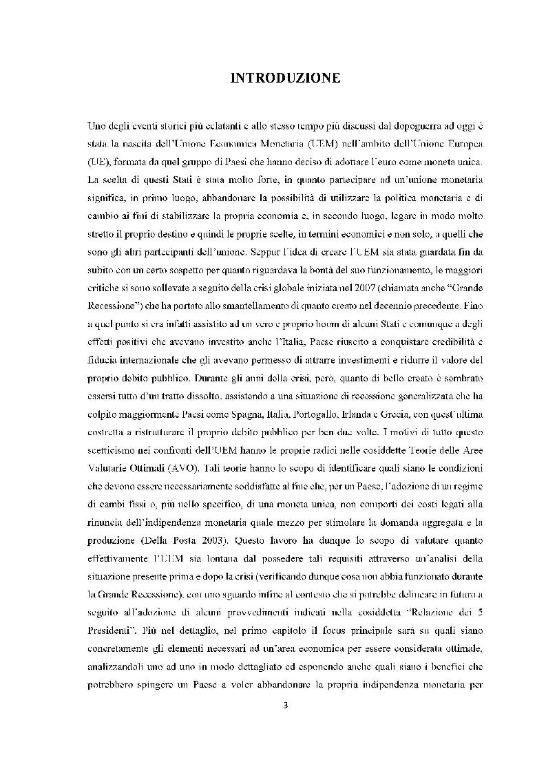 Anteprima della tesi: Quanto lontana è l'UEM dall'essere un'area valutaria ottimale?, Pagina 2