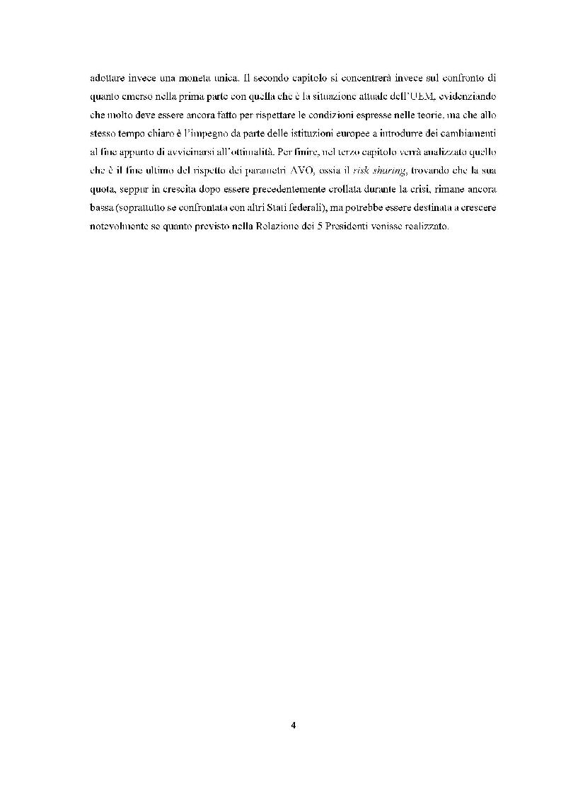 Anteprima della tesi: Quanto lontana è l'UEM dall'essere un'area valutaria ottimale?, Pagina 3