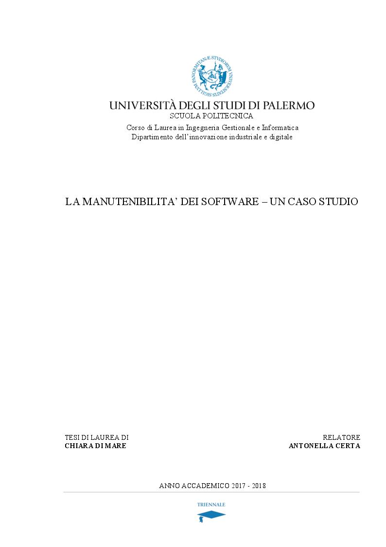 Anteprima della tesi: La manutenibilità dei software - un caso studio, Pagina 1