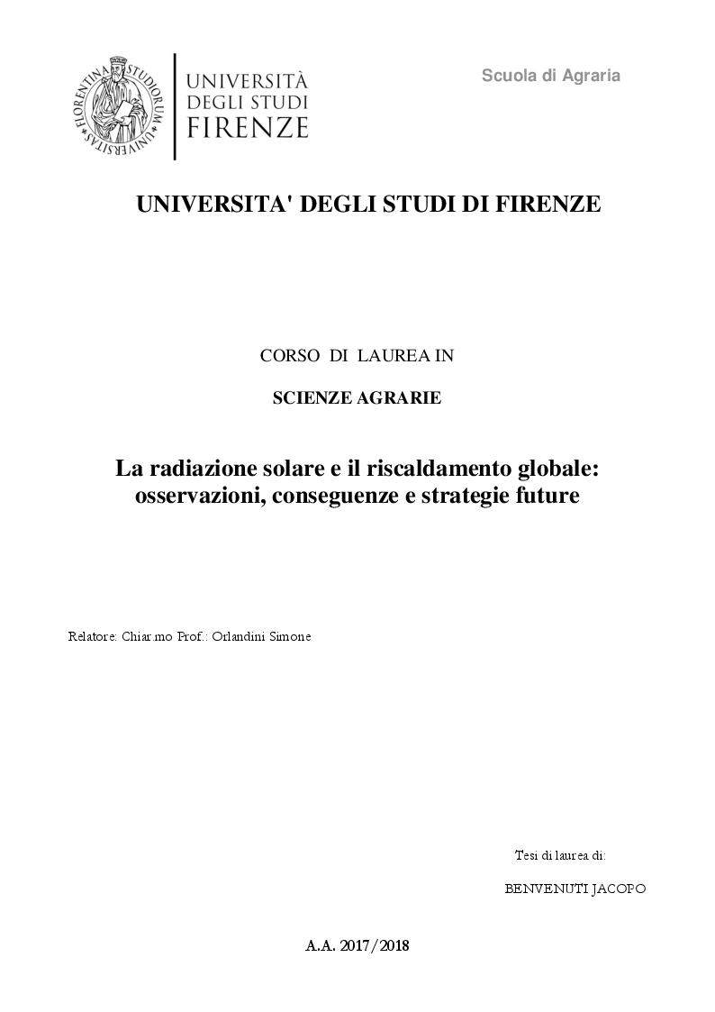 Anteprima della tesi: La radiazione solare e il riscaldamento globale: osservazioni, conseguenze e strategie future, Pagina 1