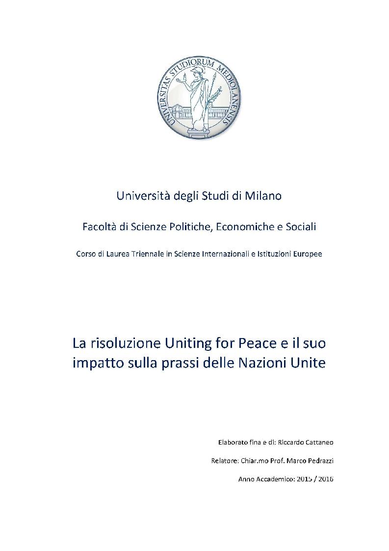 Anteprima della tesi: La risoluzione Uniting for Peace e il suo impatto sulla prassi delle Nazioni Unite, Pagina 1