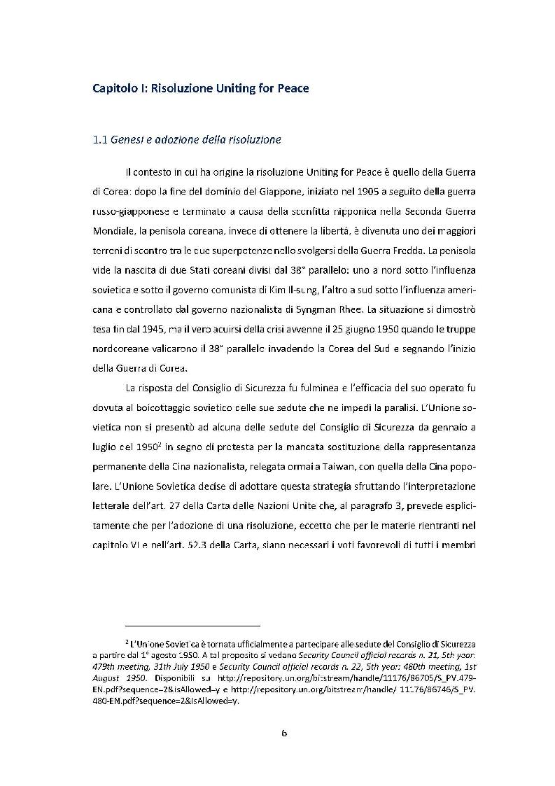 Anteprima della tesi: La risoluzione Uniting for Peace e il suo impatto sulla prassi delle Nazioni Unite, Pagina 4
