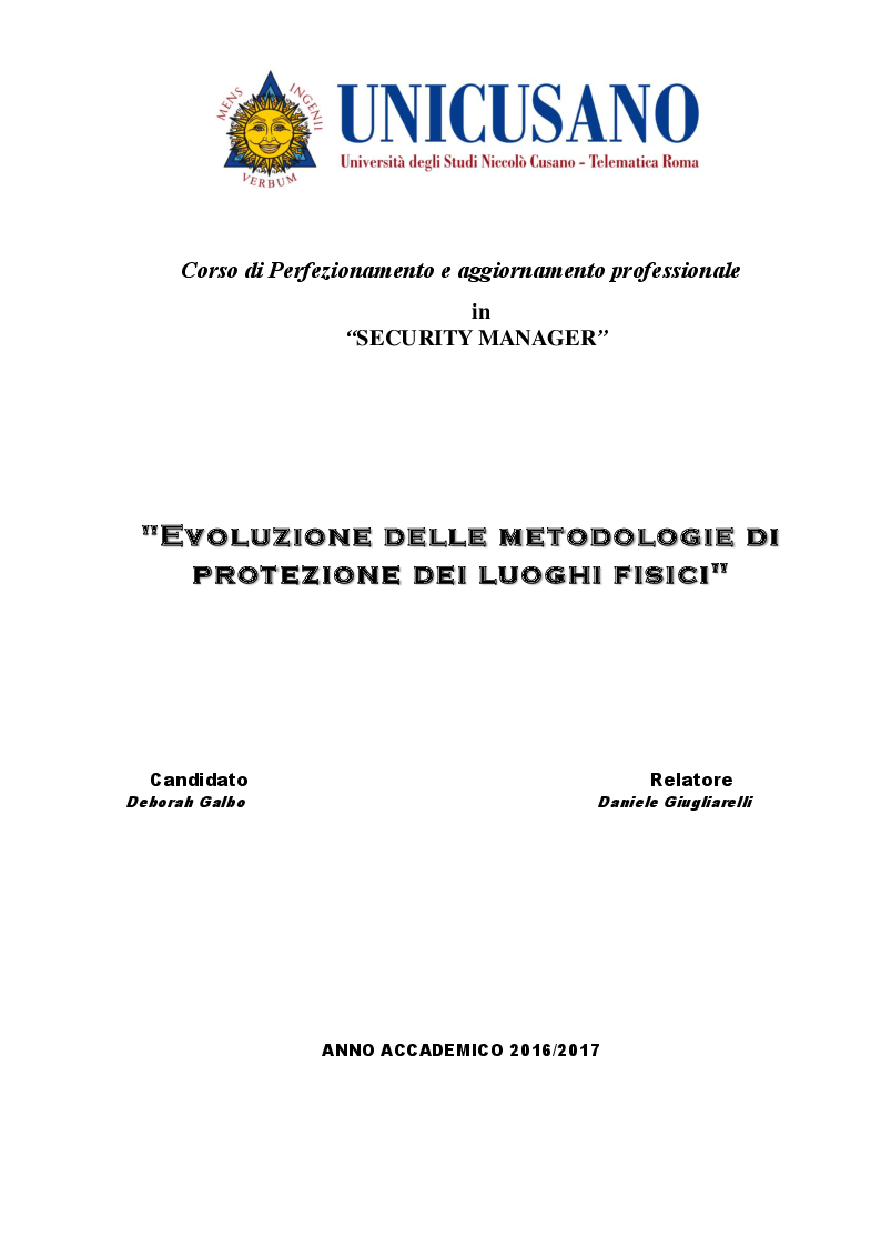Anteprima della tesi: Evoluzione delle metodologie di protezione dei luoghi fisici, Pagina 1