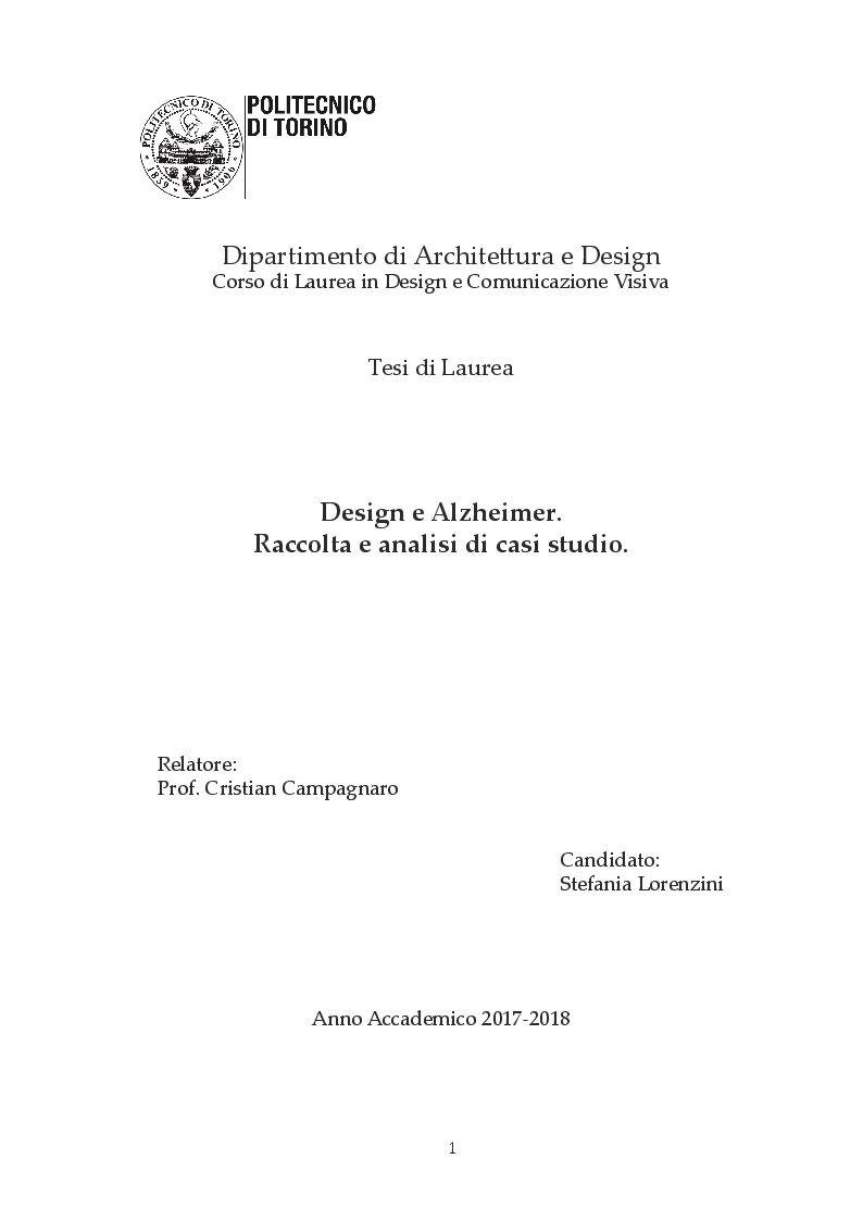 Anteprima della tesi: Design e Alzheimer. Raccolta e analisi di casi studio, Pagina 1