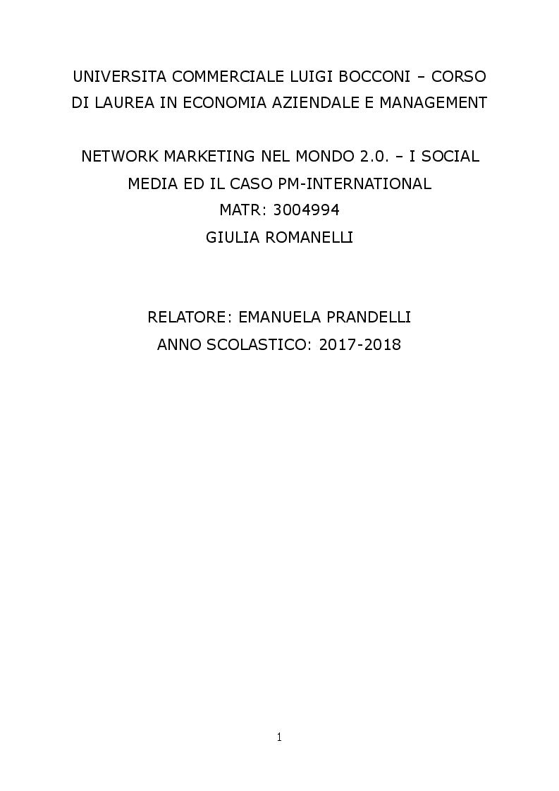 Anteprima della tesi: Network marketing nel mondo 2.0. - I social media ed il caso Pm-International, Pagina 1