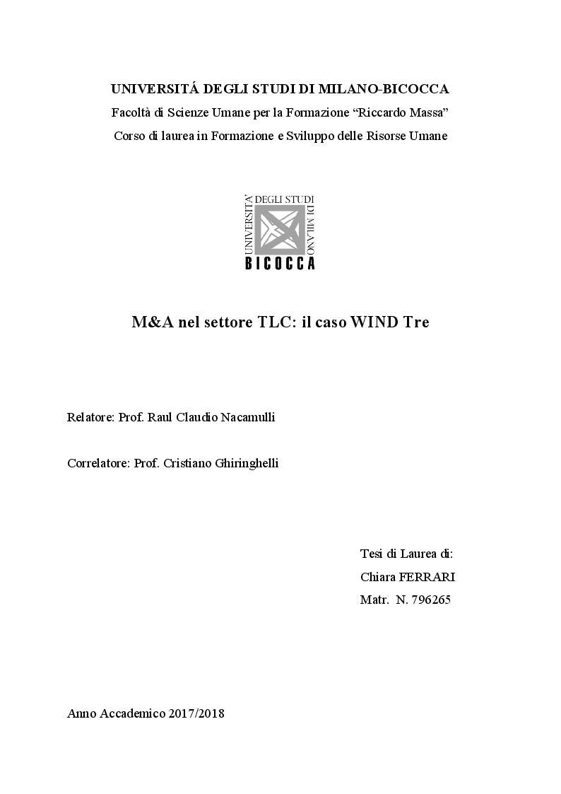 Anteprima della tesi: M&A nel settore TLC: il caso WIND Tre, Pagina 1