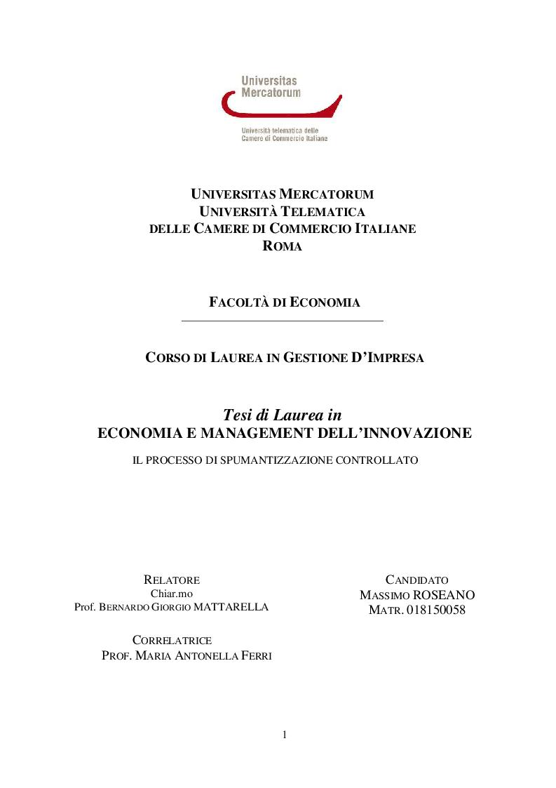 Anteprima della tesi: Il processo di spumantizzazione controllato, Pagina 1