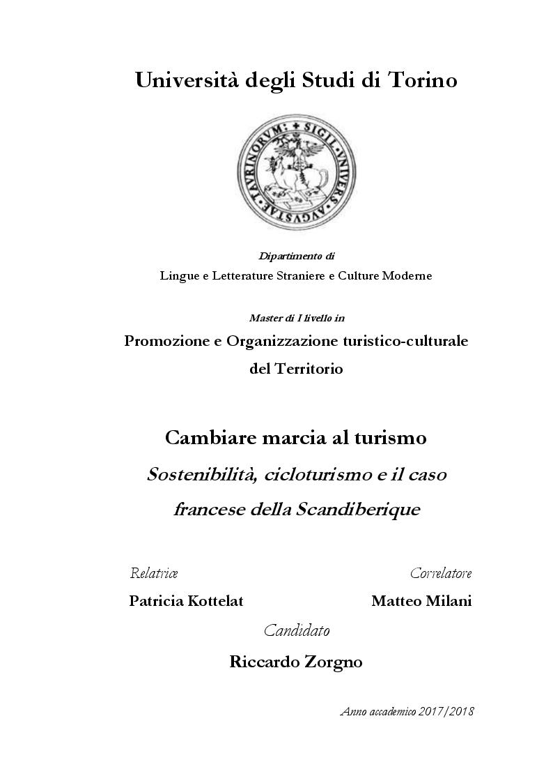 Anteprima della tesi: Cambiare marcia al turismo - sostenibilità, cicloturismo e il caso francese della Scandiberique, Pagina 1