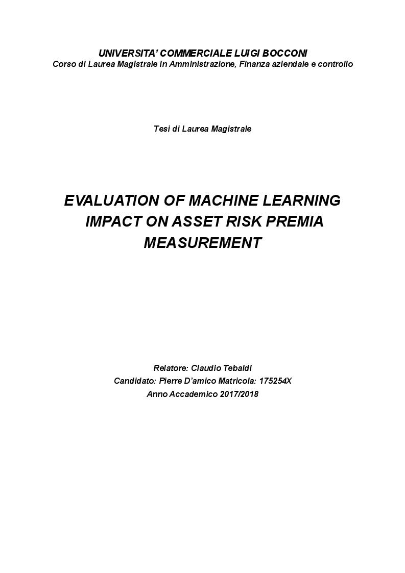 Anteprima della tesi: Evaluation of Machine Learning impact on Asset Risk Premia measurement, Pagina 1