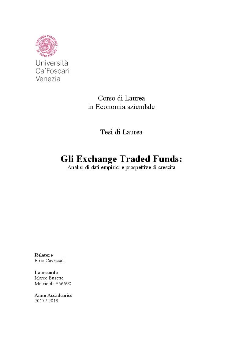 Anteprima della tesi: Gli Exchange Traded Funds: Analisi di dati empirici e prospettive di crescita, Pagina 1