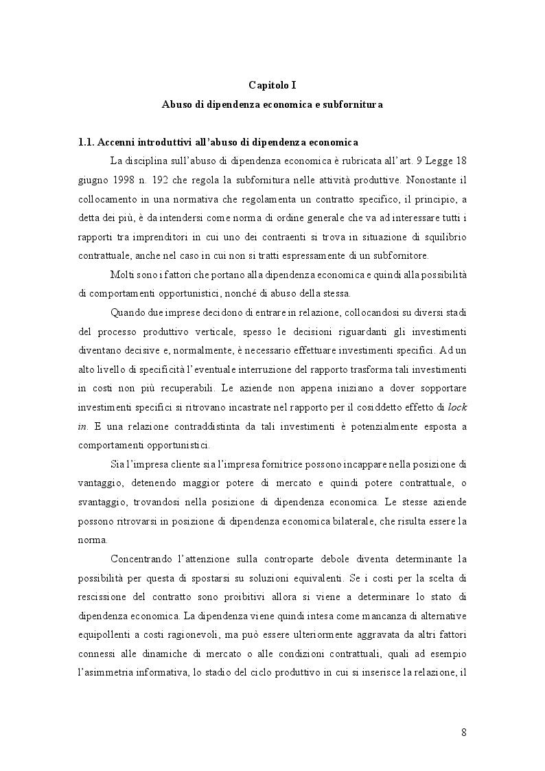 Anteprima della tesi: L'Abuso di Dipendenza Economica: dall'emanazione della legge alla prima volta dell'AGCM, Pagina 2