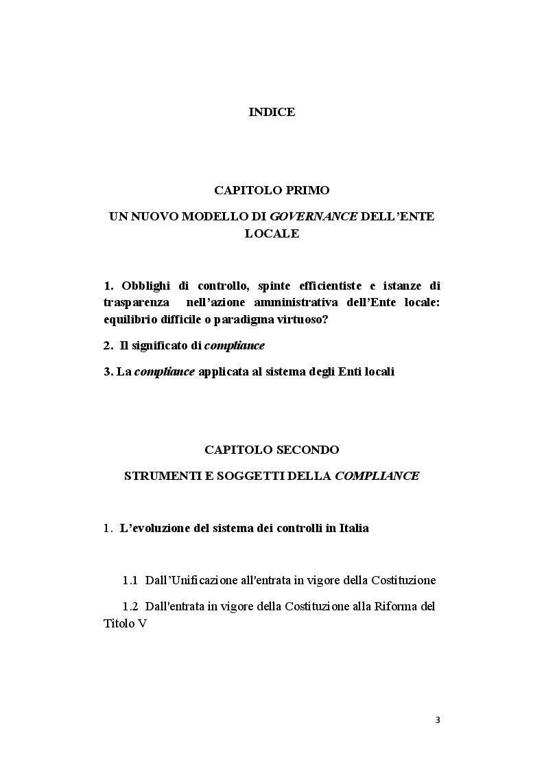 Indice della tesi: Il ruolo del segretario all'interno del sistema di compliance dell'ente locale, Pagina 1