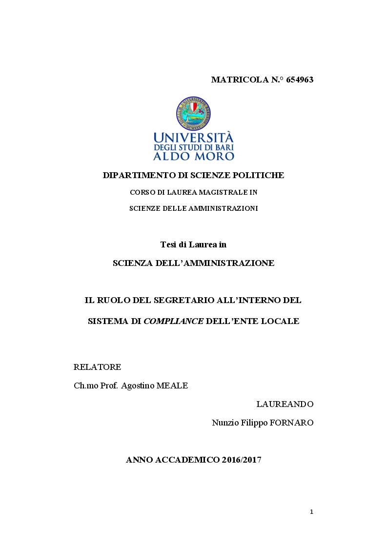 Anteprima della tesi: Il ruolo del segretario all'interno del sistema di compliance dell'ente locale, Pagina 1