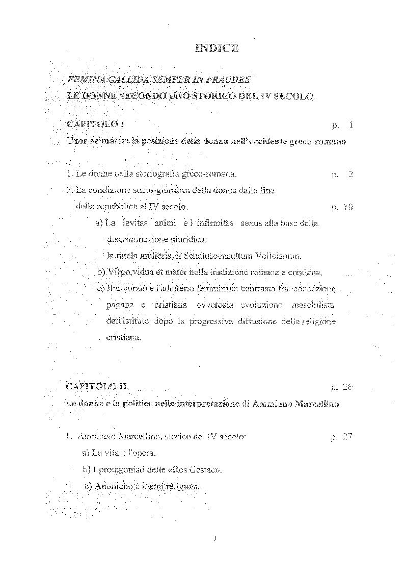 Indice della tesi: Femina callida semper in fraude - Le donne secondo uno storico del IV secolo, Pagina 1
