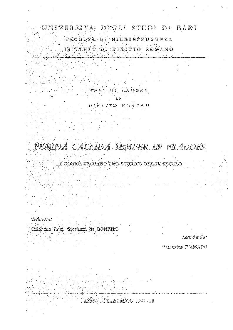 Anteprima della tesi: Femina callida semper in fraude - Le donne secondo uno storico del IV secolo, Pagina 1