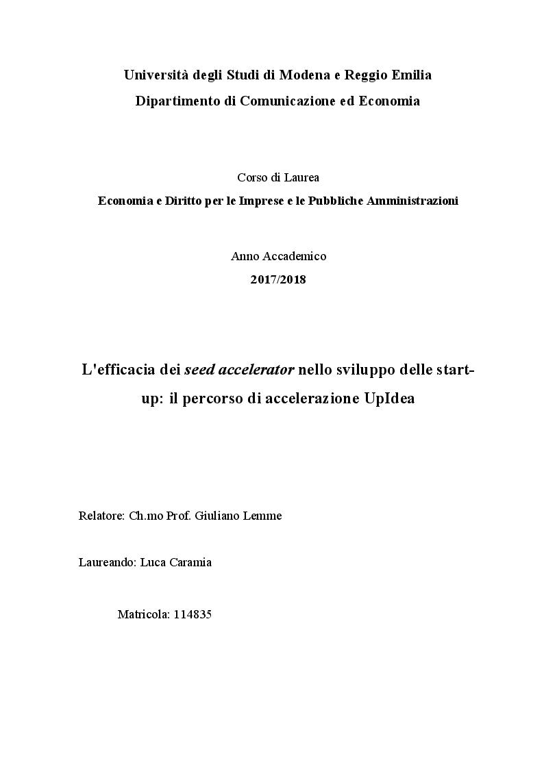Anteprima della tesi: L'efficacia dei seed accelerator nello sviluppo delle start-up: il percorso di accelerazione UpIdea, Pagina 1