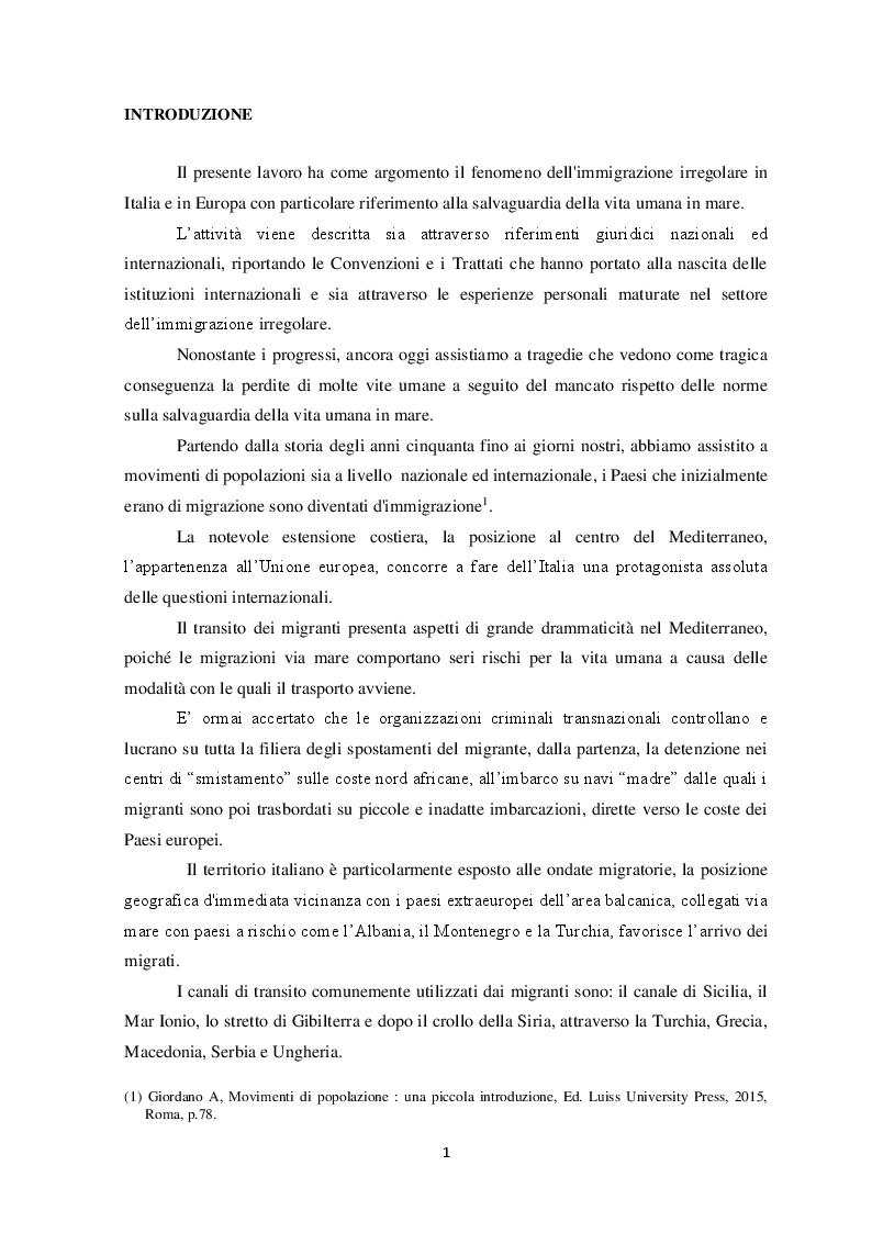 Anteprima della tesi: Il fenomeno dell'immigrazione irregolare e la salvaguardia della vita umana a mare, Pagina 2