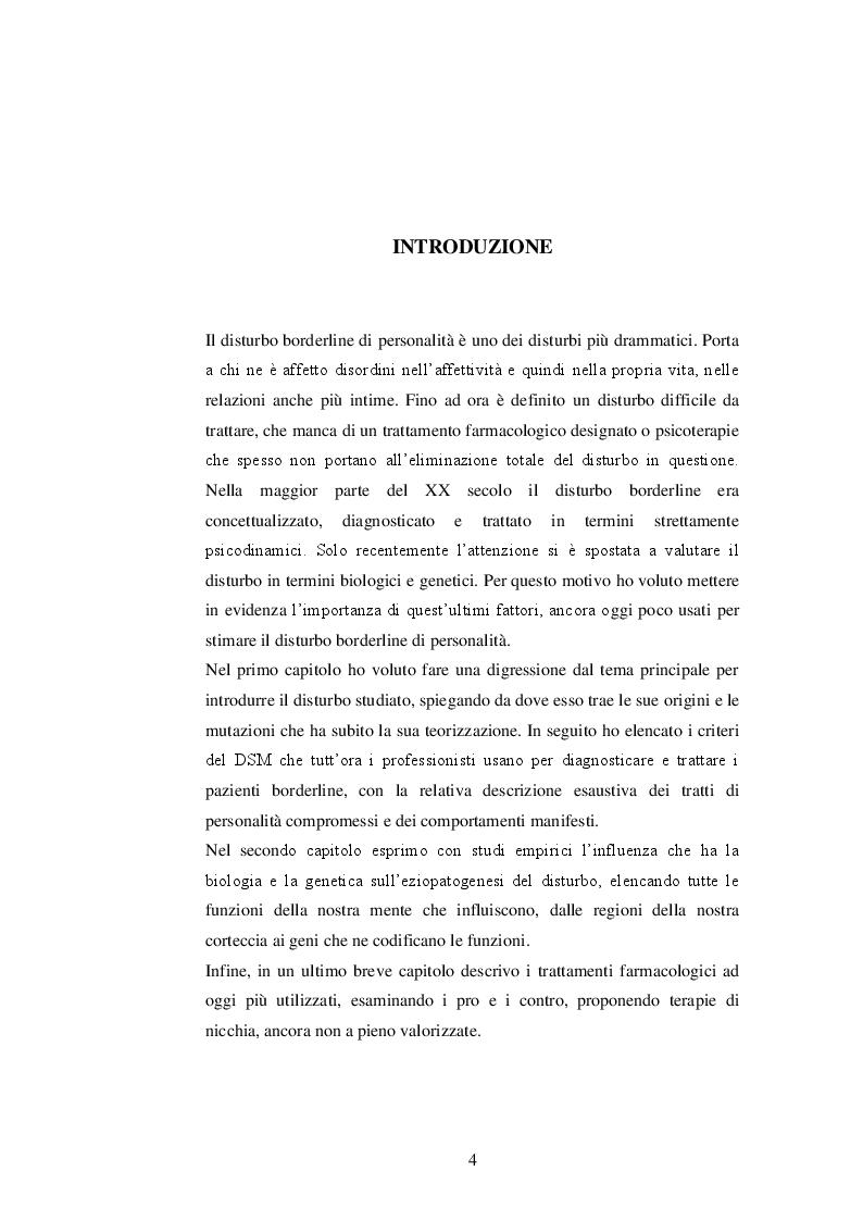 Anteprima della tesi: Basi biologiche e genetiche del disturbo borderline di personalità, Pagina 2