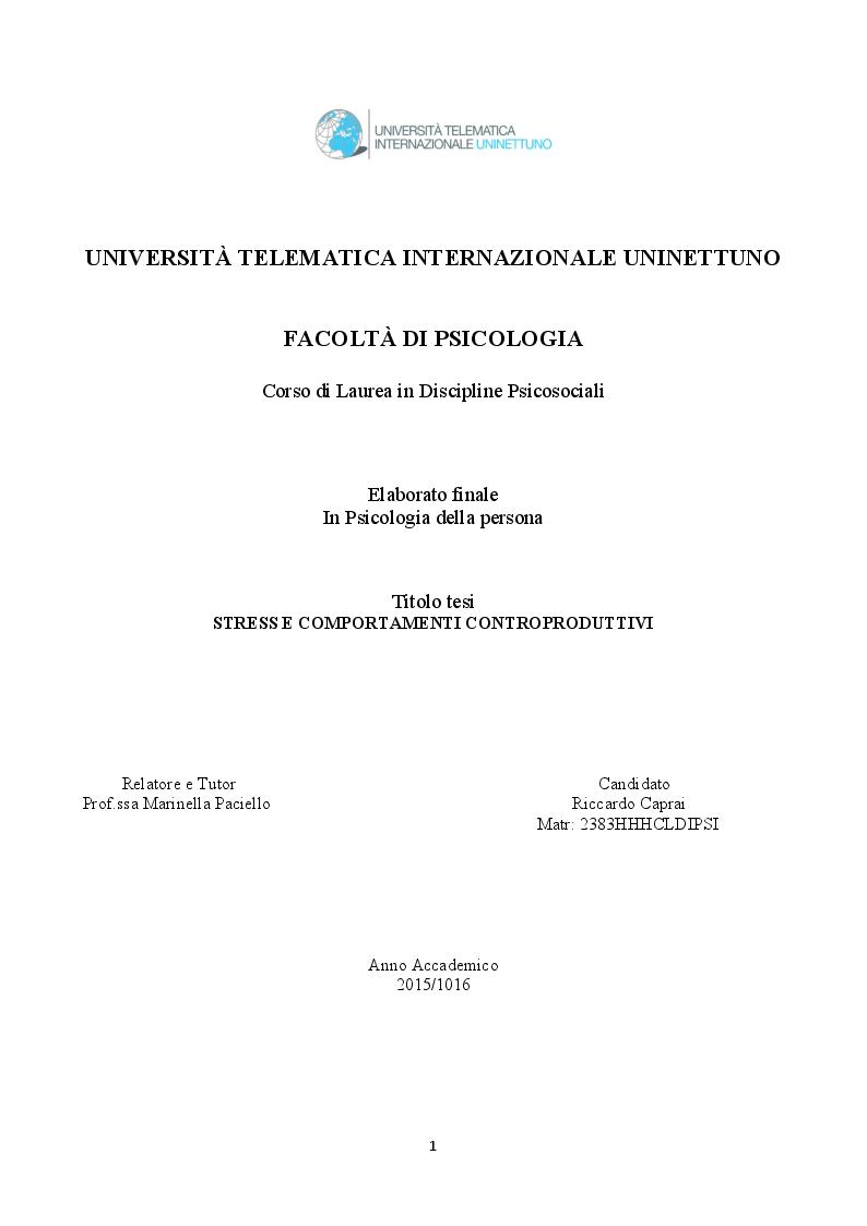 Anteprima della tesi: Stress e comportamenti controproduttivi (CWB), Pagina 1