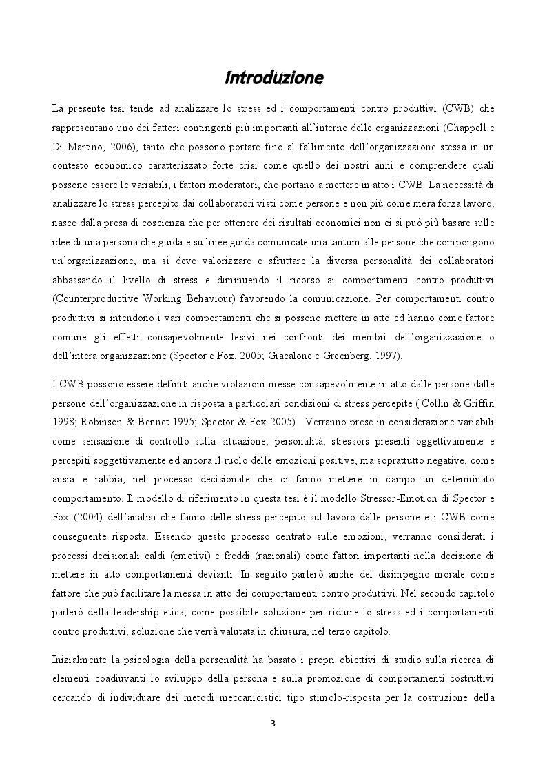 Anteprima della tesi: Stress e comportamenti controproduttivi (CWB), Pagina 2