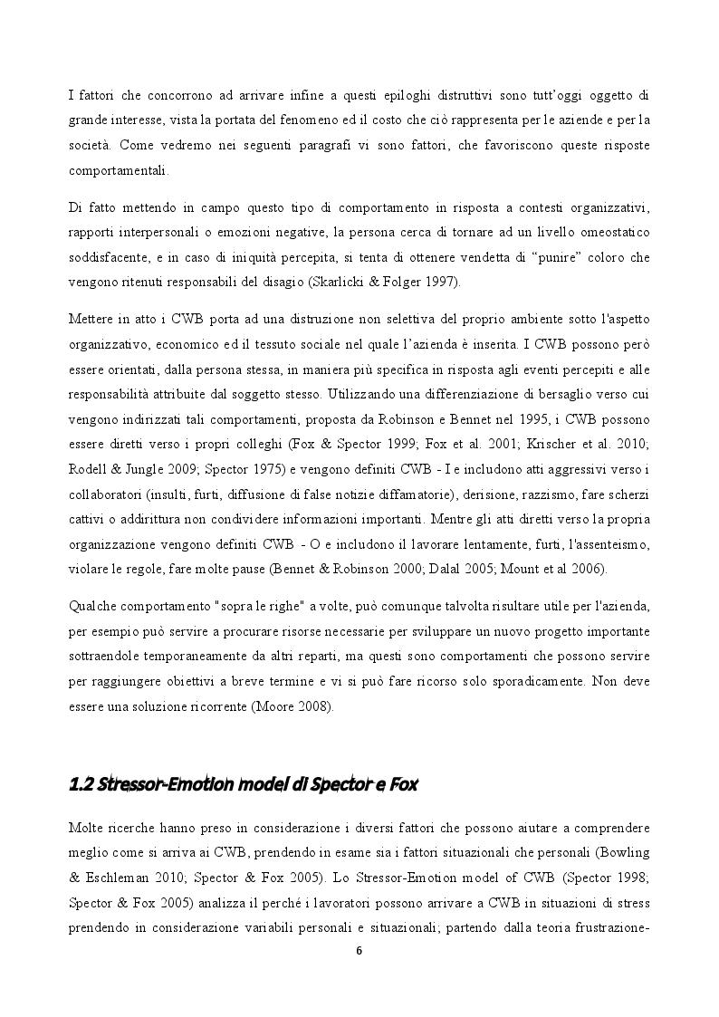 Anteprima della tesi: Stress e comportamenti controproduttivi (CWB), Pagina 5