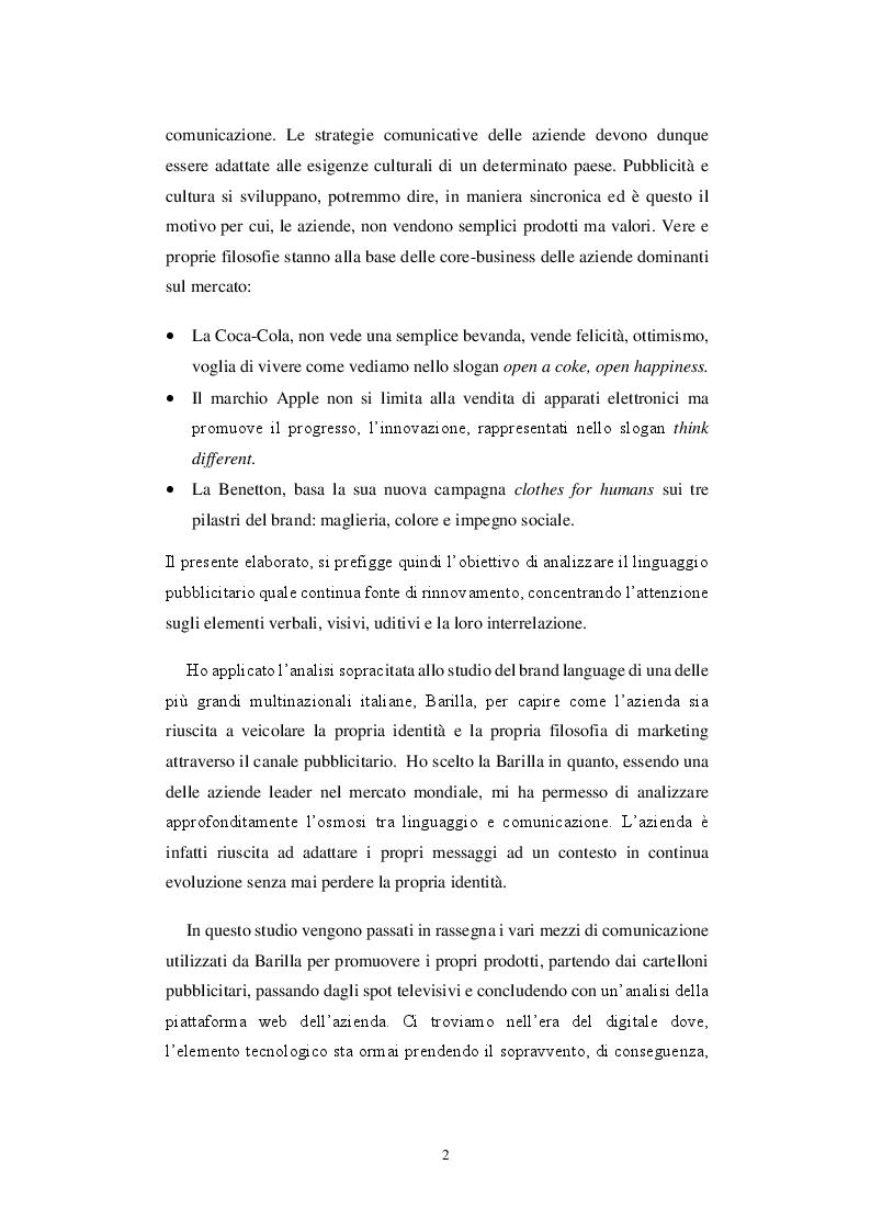 Anteprima della tesi: Storia di una comunicazione sempre al dente: un'analisi linguistica ed extra-linguistica della pubblicità Barilla, Pagina 3