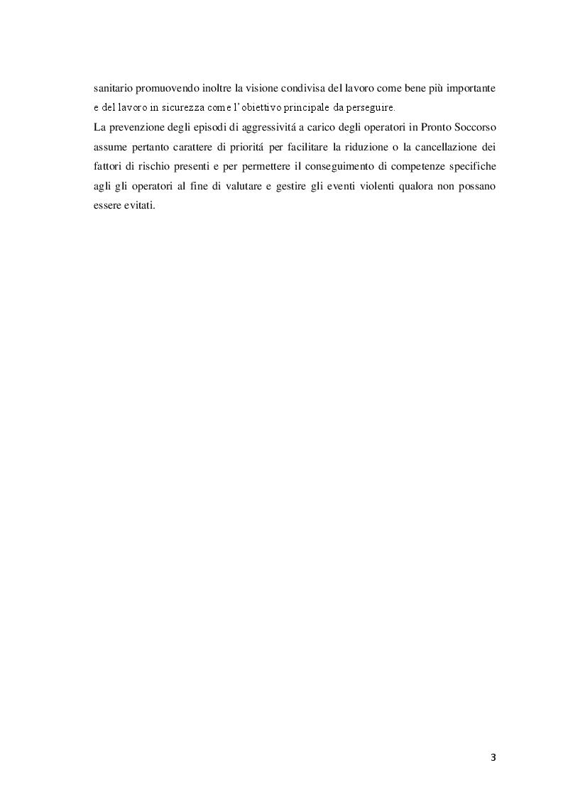 Anteprima della tesi: Aggressività ed esplosione di violenza in pronto soccorso: revisione narrativa della letteratura per identificare fattori di rischio e strumenti di prevenzione, Pagina 3