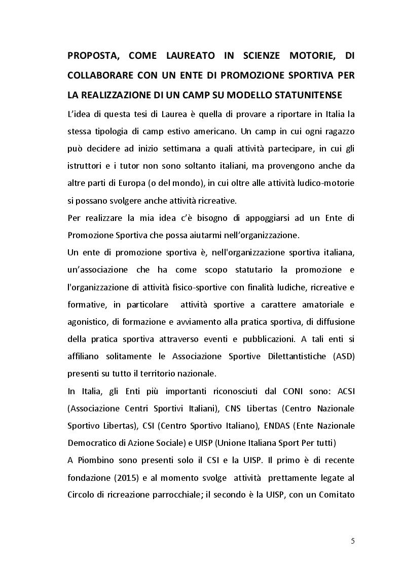 Anteprima della tesi: I bambini scelgono lo sport in una esperienza di camp estivo, Pagina 4