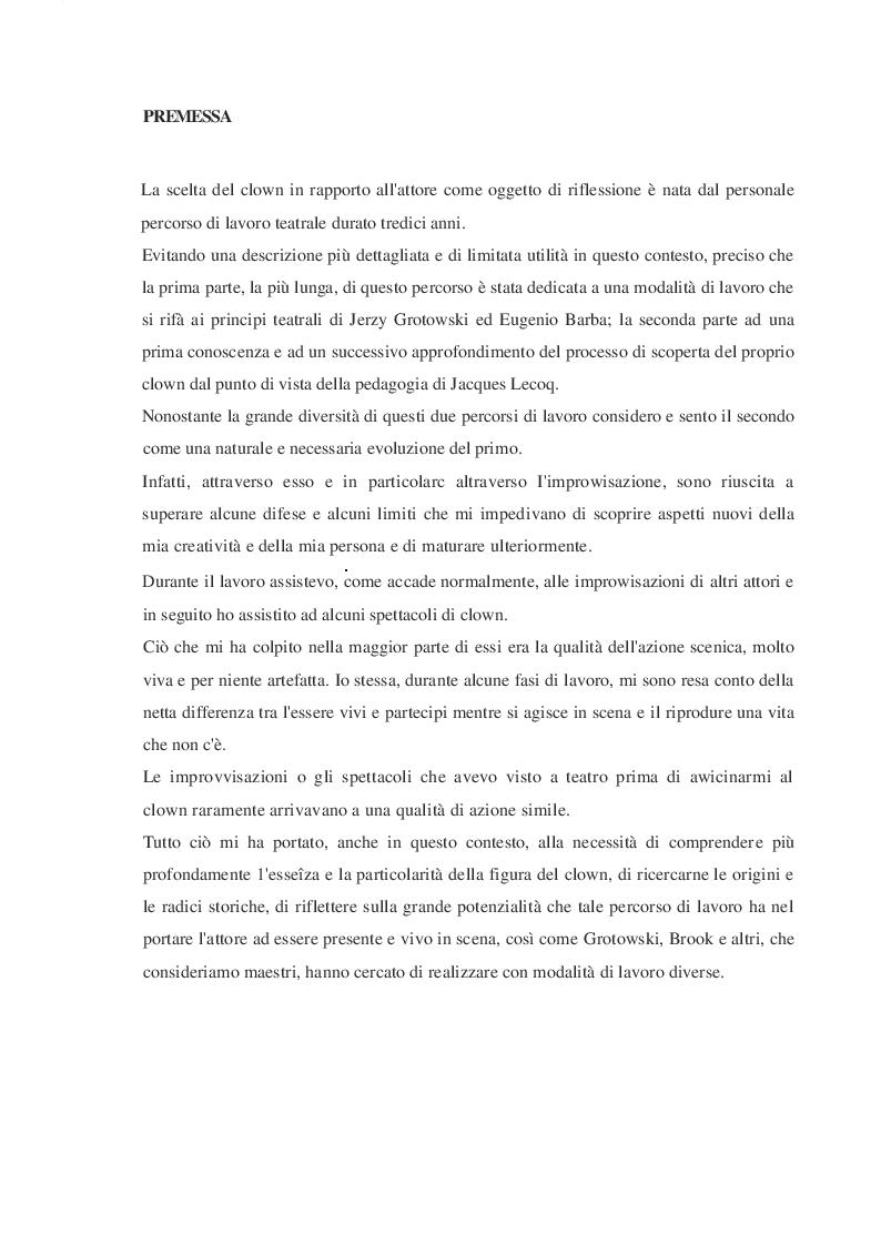 Anteprima della tesi: Il clown e l'attore, Pagina 2