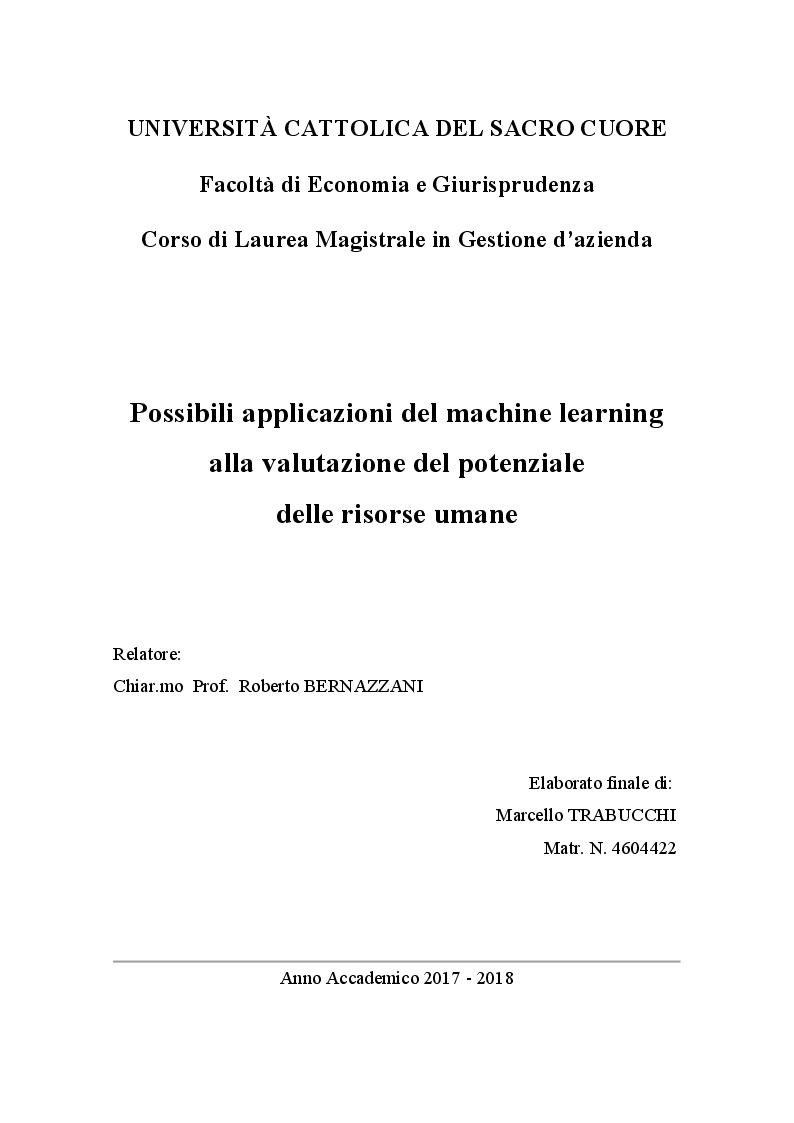 Anteprima della tesi: Possibili applicazioni del machine learning alla valutazione del potenziale delle risorse umane, Pagina 1