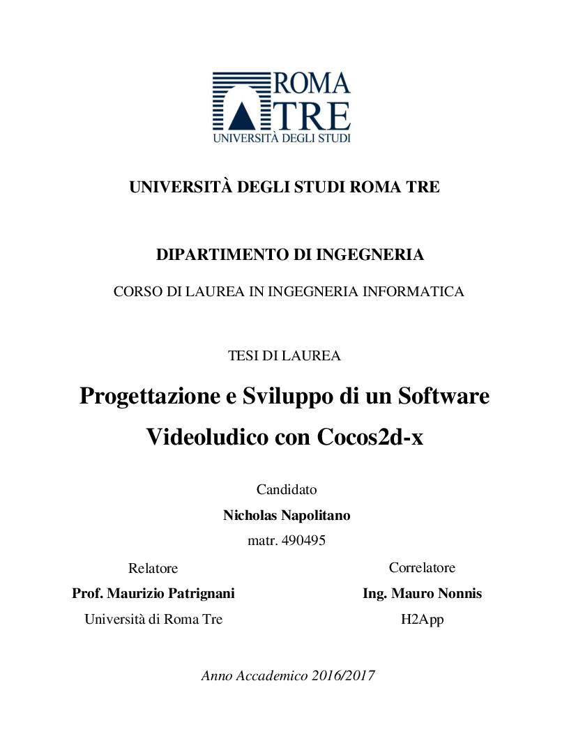 Anteprima della tesi: Progettazione e Sviluppo di un Software Videoludico con Cocos2d-x, Pagina 1