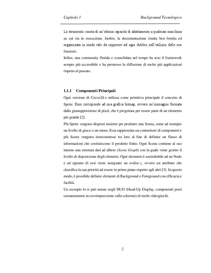 Anteprima della tesi: Progettazione e Sviluppo di un Software Videoludico con Cocos2d-x, Pagina 7