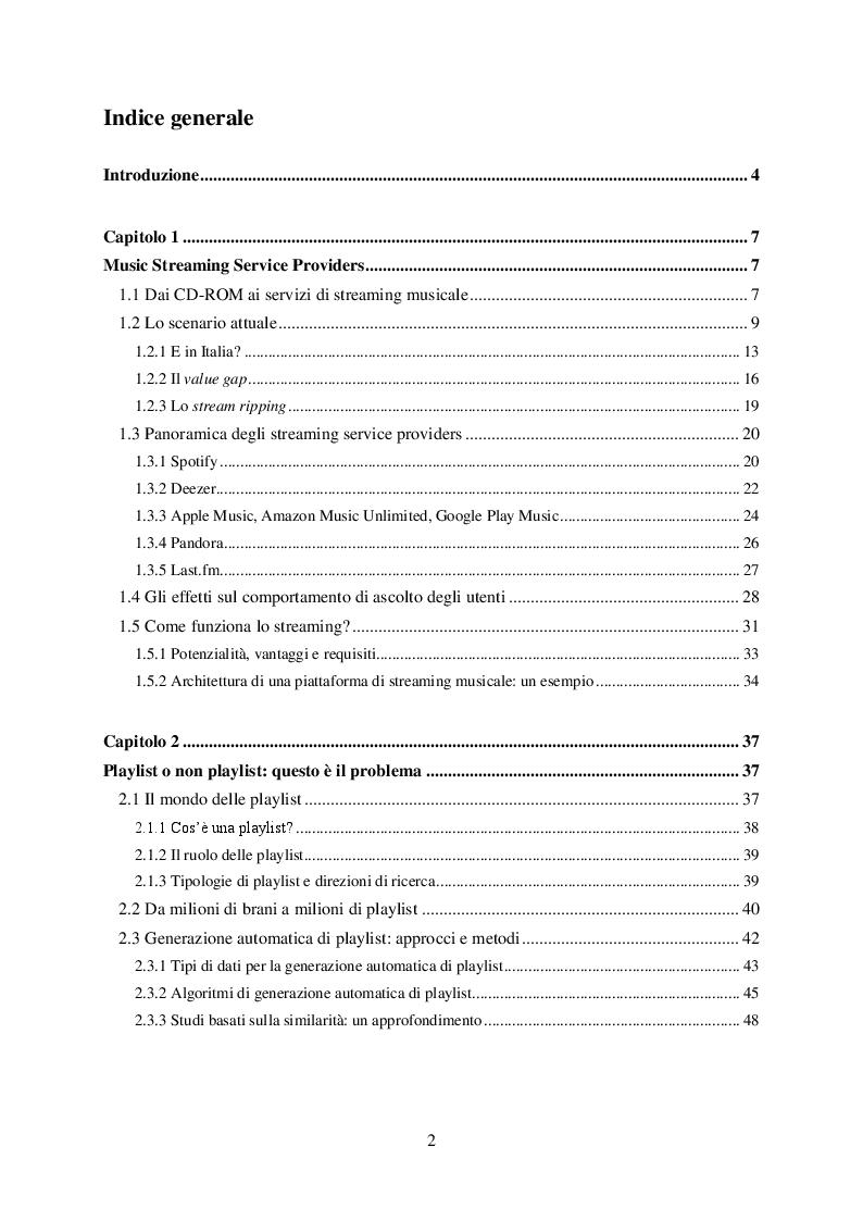 Indice della tesi: Ready-mix: un algoritmo per la generazione automatica di playlist musicali personalizzate e sensibili al fattore tempo, Pagina 1