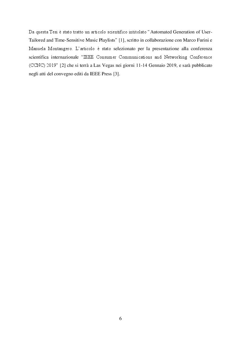 Anteprima della tesi: Ready-mix: un algoritmo per la generazione automatica di playlist musicali personalizzate e sensibili al fattore tempo, Pagina 4