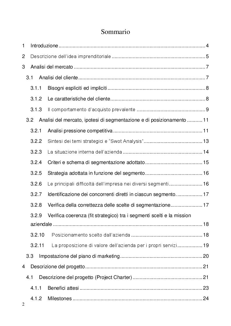 """Indice della tesi: Sviluppo ed implementazione di una metodologia di gestione progetti ed attività di ingegneria, basata sul concetto di """"Lean Engineering"""", Pagina 1"""