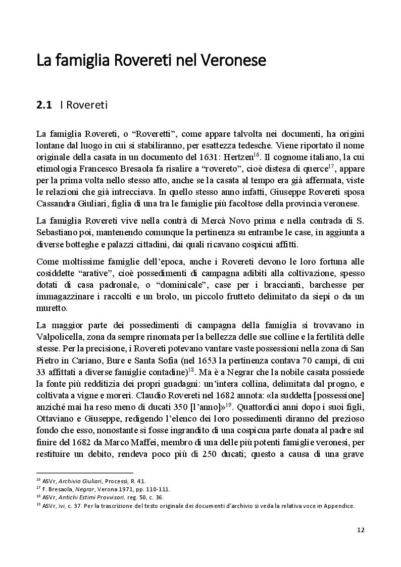 Estratto dalla tesi: Villa Rovereti Rizzardi: Una villa veneta in Valpolicella vista attraverso la storia delle famiglie che la abitarono